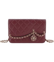 chanel cc timeless lambskin leather wallet on chain red, bordeau sz: