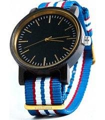 blue navy - drewniany zegarek