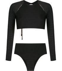 osklen mesh panel bikini - black