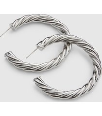 lane bryant women's twisted metal large hoop earrings onesz silvertone