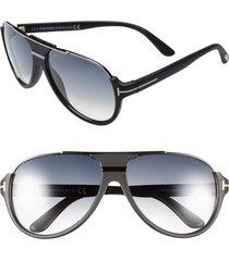 tom ford 'dimitry' 59mm aviator sunglasses in matte black/dark ruthenium at nordstrom
