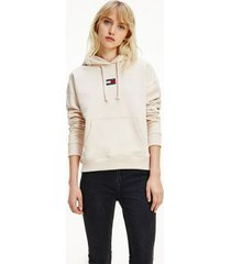 tommy hilfiger women's organic cotton tommy center badge hoodie smooth stone - xl