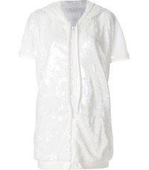 faith connexion sequinned short sleeve hoodie - white