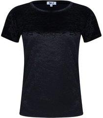 camiseta unicolor cuello redondo color negro, talla 10