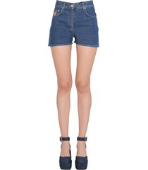 moschino short with teddy embroideredcotton denim short with teddy embroidered