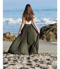 full skirt length pleated maxi long women romantic casual basic vacation new