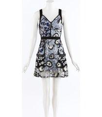 self portrait black blue embroidered floral lace mini dress blue/black sz: s