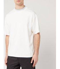 acne studios men's logo neck t-shirt - optic white - xl