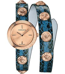 medusa stud icon analog leather wrap watch