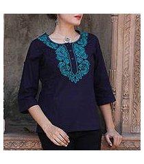 cotton tunic, 'indigo magnificence' (india)