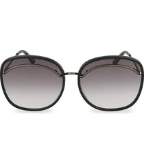 bottega veneta women's 61mm square sunglasses - black