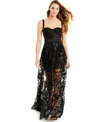 blondie nites juniors' embellished embroidered mesh corset gown, created for macy's