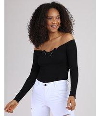 blusa feminina ombro a ombro com frufru manga longa preto