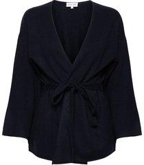 kimono gebreide trui cardigan blauw davida cashmere