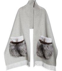 women's lafayette 148 new york genuine mink or fox fur pocket cashmere scarf, size one size - grey