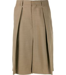 ami paris wide-fit pleated bermuda shorts - neutrals