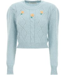 alessandra rich short sweater with embroideries
