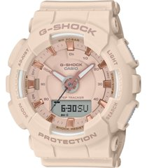 g-shock women's analog-digital step tracker pink resin strap watch 49.5mm