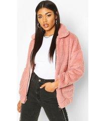 faux fur teddy trucker jacket, blush