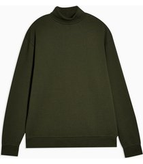 mens khaki roll neck sweatshirt