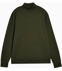 mens khaki roll neck sweatshirt