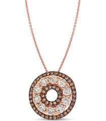 le vian women's 14k strawberry gold®, chocolate diamond® & nude diamond™ pendant necklace