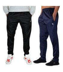 kit 2 calças esportiva ks masculina agasalho cós de elástico bolsos laterais kit-2-0375 multicolorido