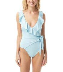 vince camuto ruffle wrap-tie one-piece swimsuit women's swimsuit