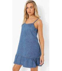 denim swing jurk met losvallende zoom en bandjes, light blue