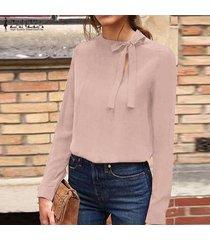 zanzea bowknot de las mujeres con cuello redondo de tapas de la camisa de manga larga de la blusa de la carrera de negocios tops plus -rosado