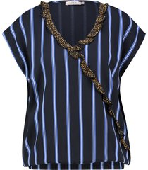 l.o.e.s. 20292 6911 loes martha stripe top dark blue/off white blauw