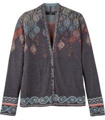 jacquard-strickjackegebreid jasje uit bio-merinowol met paisleypatroon, grijs-motief 44