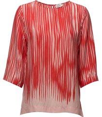 printed drapey tee blouse lange mouwen roze filippa k