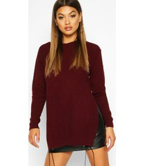 side split moss stitch tunic sweater, burgundy