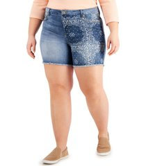 style & co plus size printed high-rise cut-off denim shorts, created for macy's