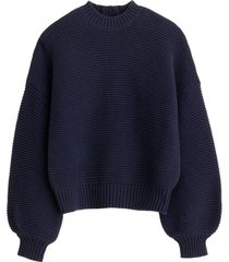 button-back crewneck sweater in dark navy