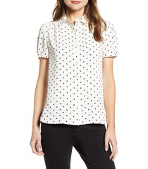 anne klein dot print collared short sleeve blouse, size xx-small in anne white/anne black at nordstrom