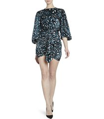 leo stretch satin ruched puff-sleeve cocktail dress