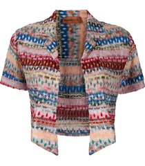 missoni mare striped-crochet cropped jacket - pink