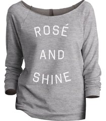 thread tank rose and shine women's slouchy 3/4 sleeves raglan sweatshirt sport g