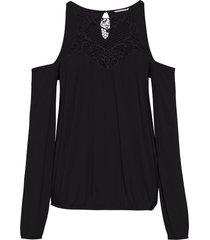 maglia con cut-out e inserto a uncinetto (nero) - bodyflirt boutique