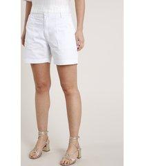 short de sarja feminino cintura super alta branco