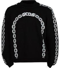 gcds balloon-sleeve chain logo sweater