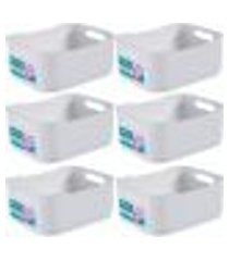 6 cestas fit pequena empilhável caixa organizadora plástica branca