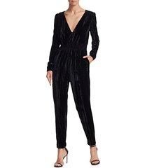 monique lhuillier women's velvet tapered jumpsuit - jet - size 12