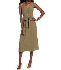 women's row a button front midi dress, size x-large - green