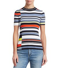 mason ribbed asymmetric stripe tee