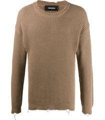 dsquared2 ribbed slim fit sweatshirt - brown
