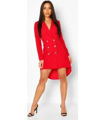 crêpe blazer-jurk met dip-back, rood