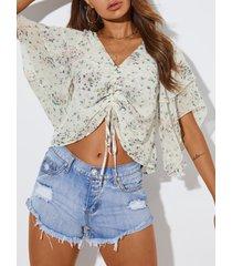 yoins calico blusa de gasa con cordones escalonados diseño